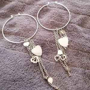 Jewelry - Hoop heart charm silver earrings